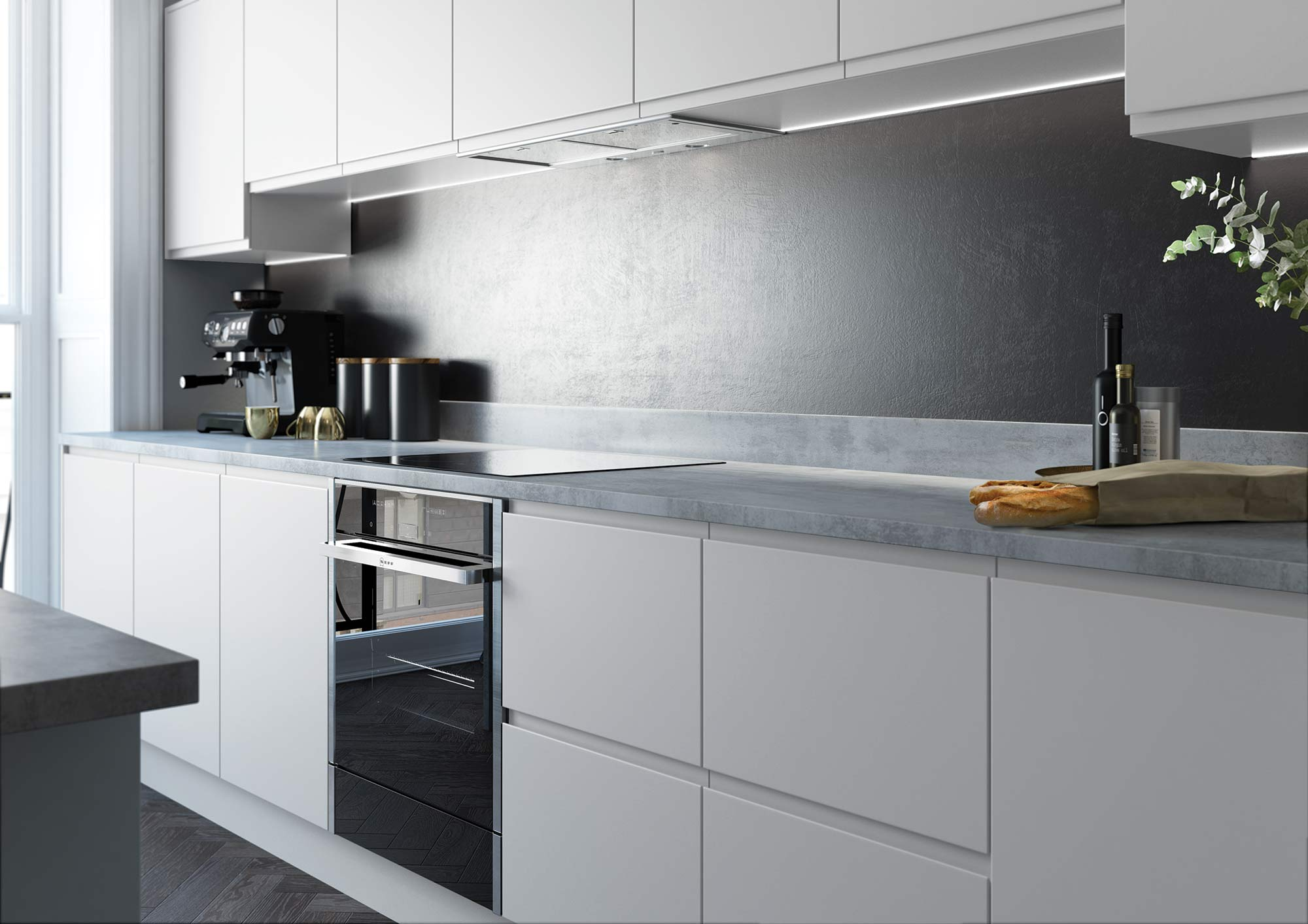 Handleless and True Handleless Matte Grey Contemporary Kitchen Picture 3