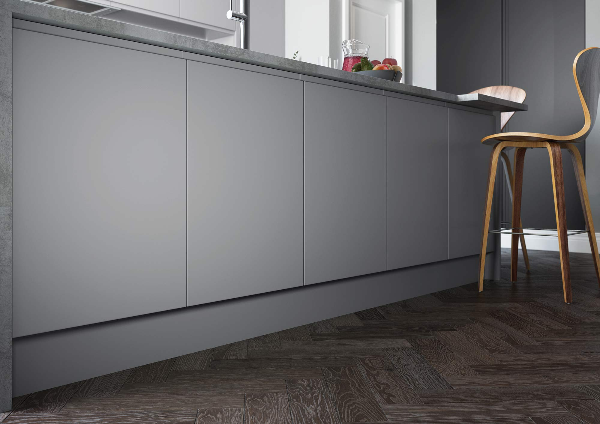 Handleless and True Handleless Matte Grey Contemporary Kitchen Picture 2