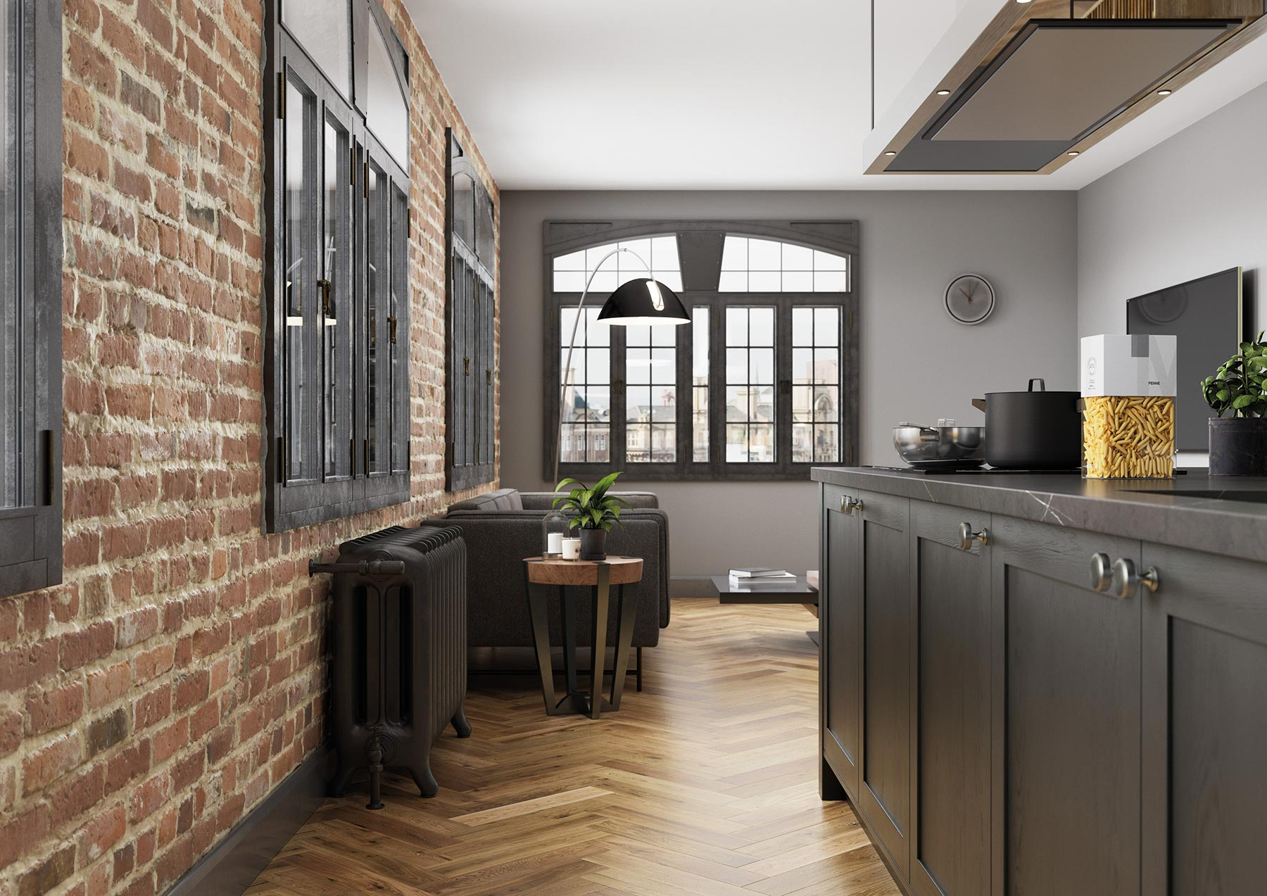 Contemporary Skinny Shaker Kitchen Painted Graphite Grey Loft Aspect