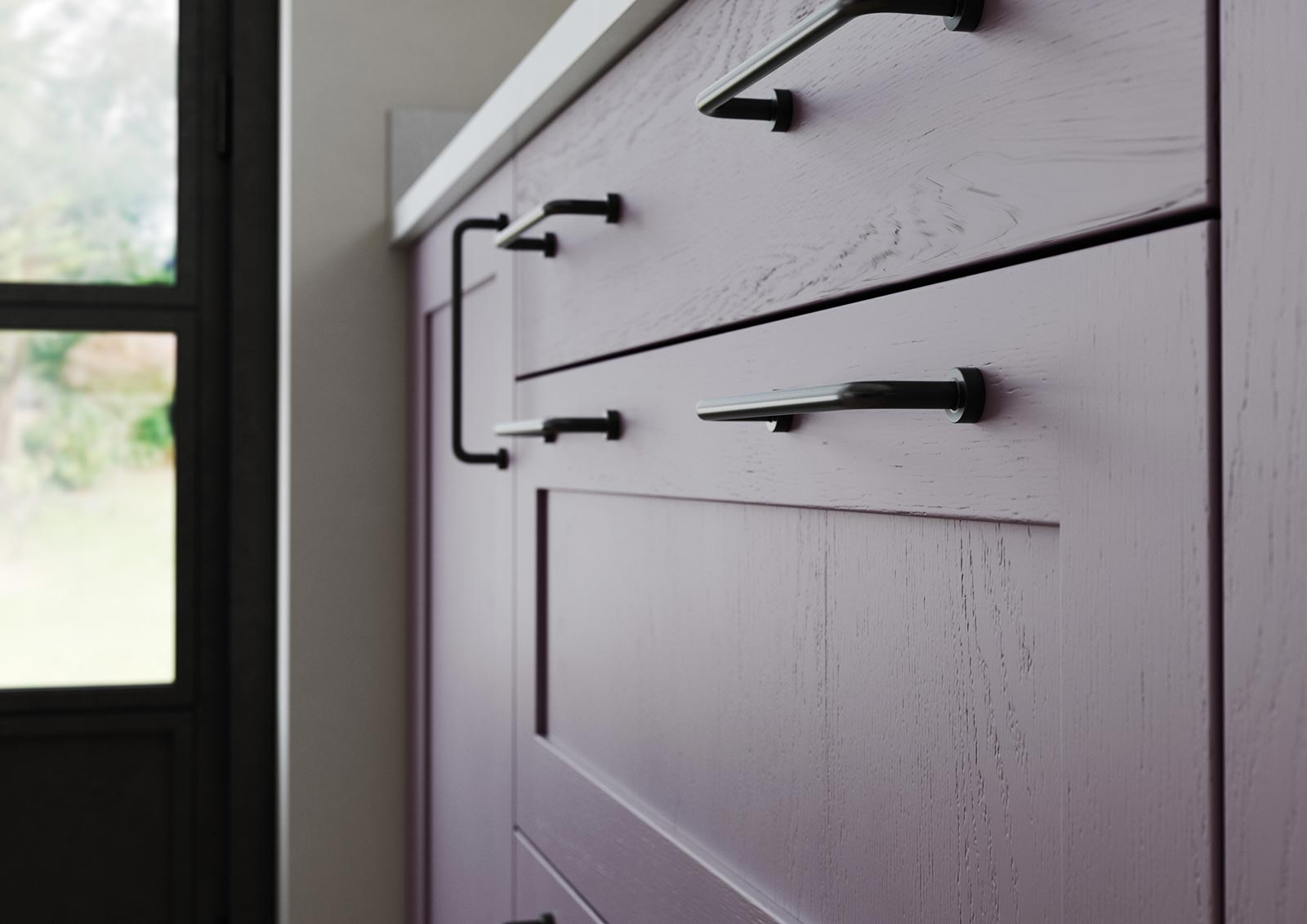 Contemporary skinny shaker door kitchen painted deep heather lavendar grey close-up