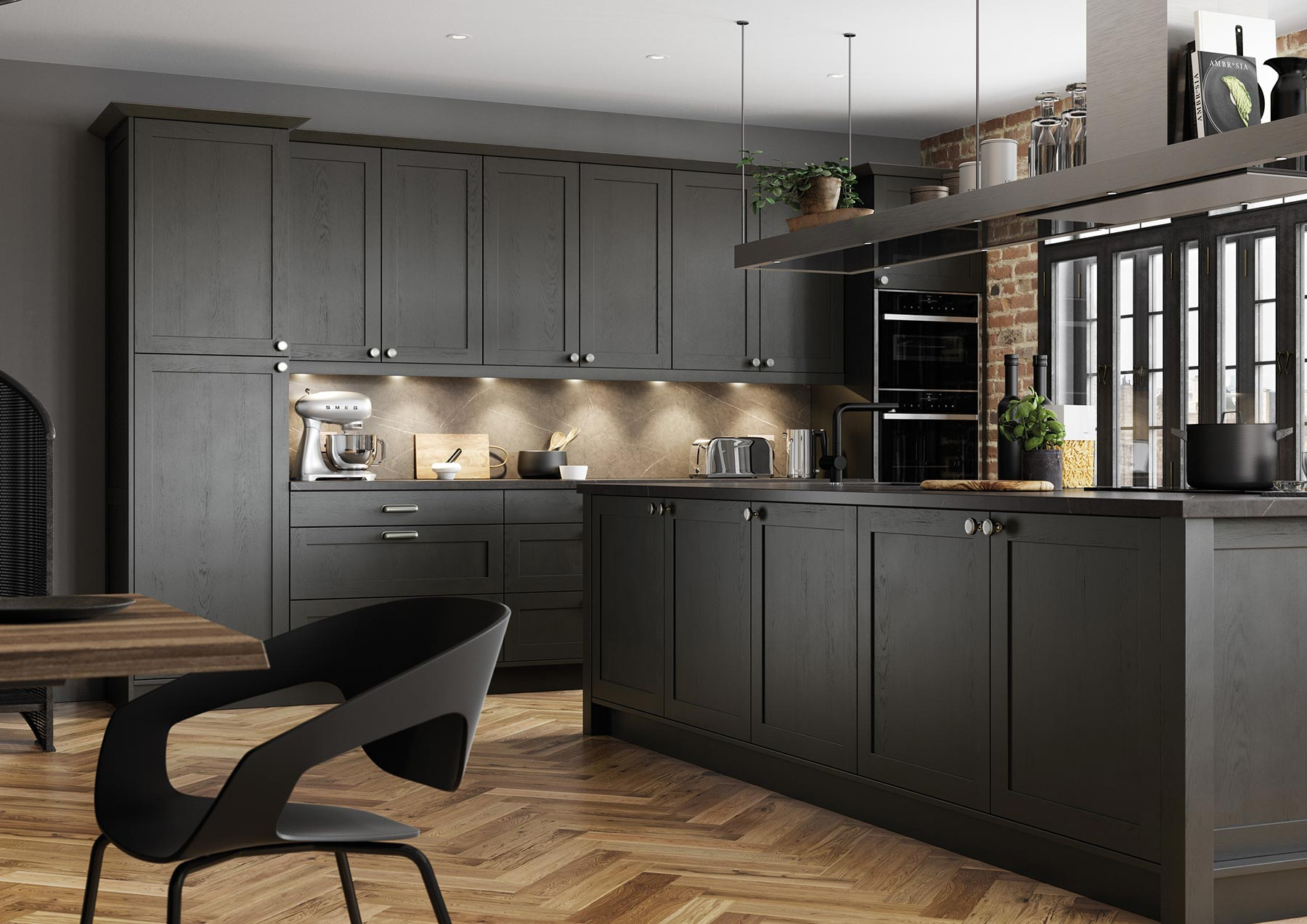 Contemporary Skinny Shaker Kitchen Painted Graphite Grey Angle View