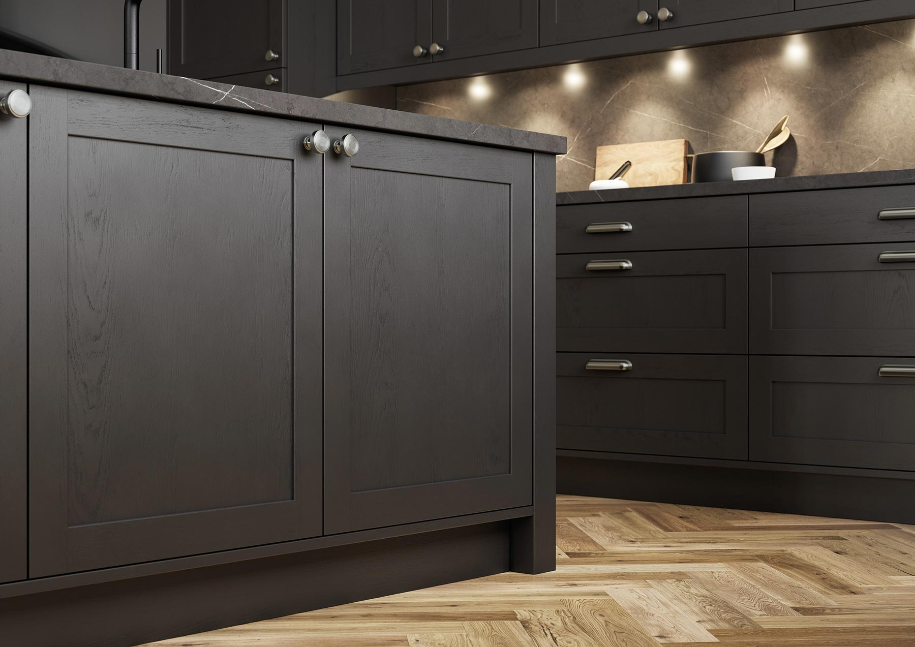 Contemporary Skinny Shaker Kitchen Painted Graphite Grey Close Up