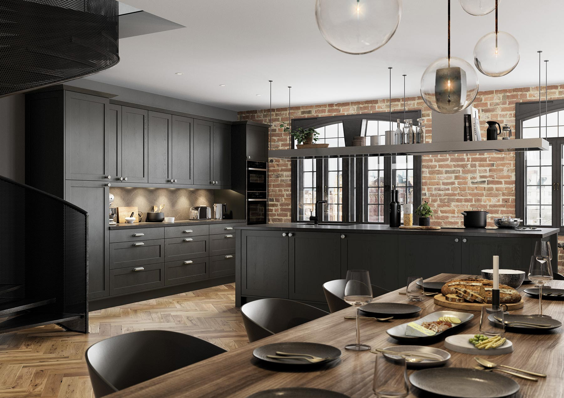Contemporary Skinny Shaker Kitchen Painted Graphite Grey View From Dining Area