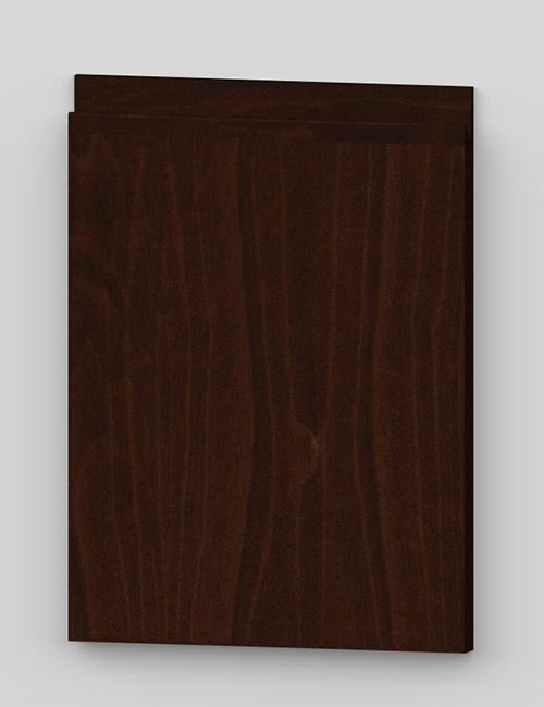 Vertical birch veneer j-pull flat door - french walnut b19