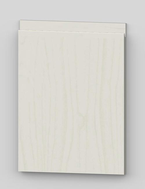 Vertical birch veneer j-pull flat door - transluscent white b11