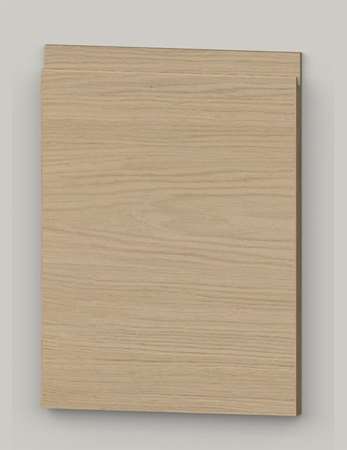 TP21SY horizontal oak veneered door with J pull handle - light oak k01