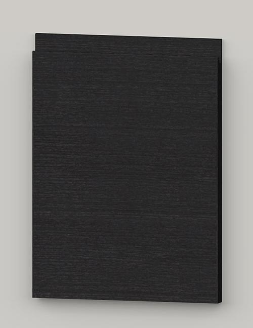 Special horizontal veneered birch j-pull door - lacquered black grey tb88