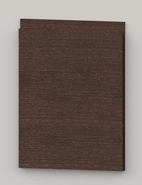 Special horizontal veneered birch j-pull door - lacquered dark brown tb82