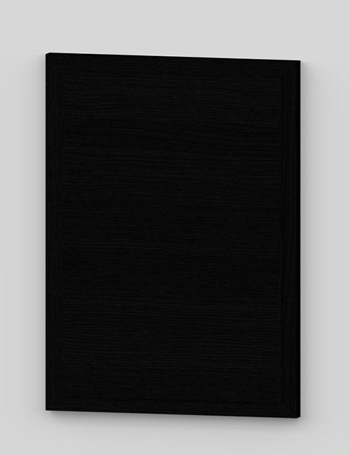 Raise panel vertical oak veneered door with wood edge - black k49