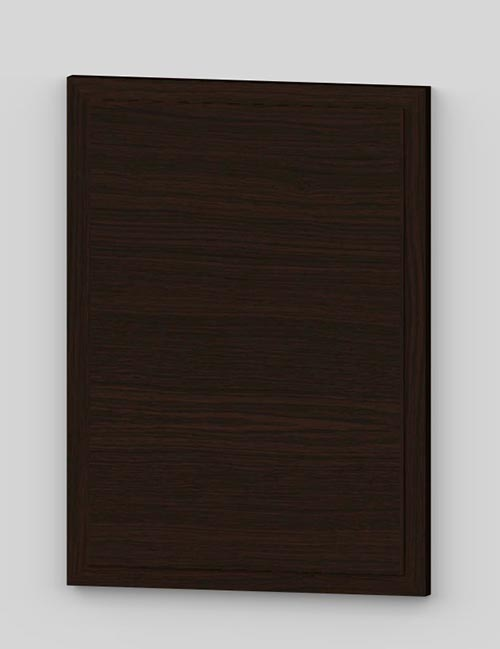 Raise panel vertical oak veneered door with wood edge - dark brown k31