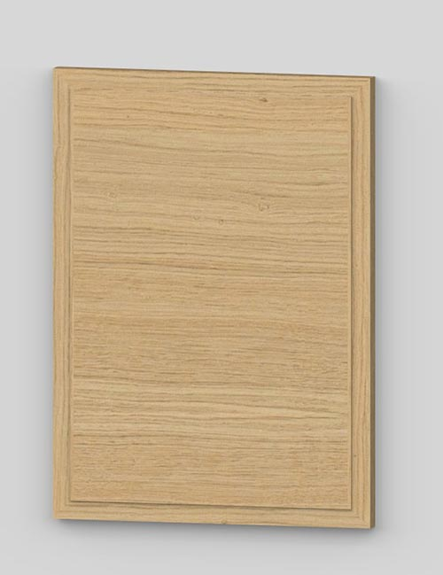 Raise panel vertical oak veneered door with wood edge - untreated k00