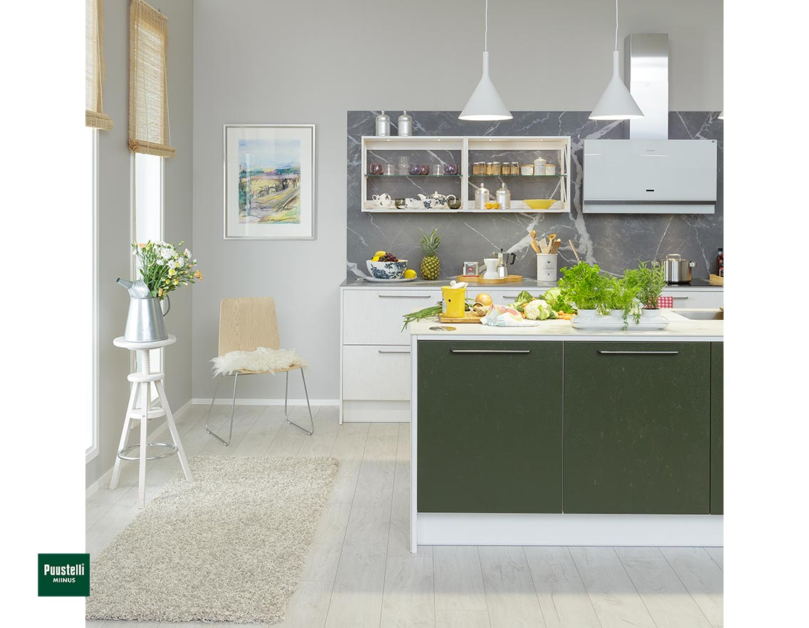 Puustelli Miinus Ecological Kitchen Forest Green and Arctic White osbART Doors