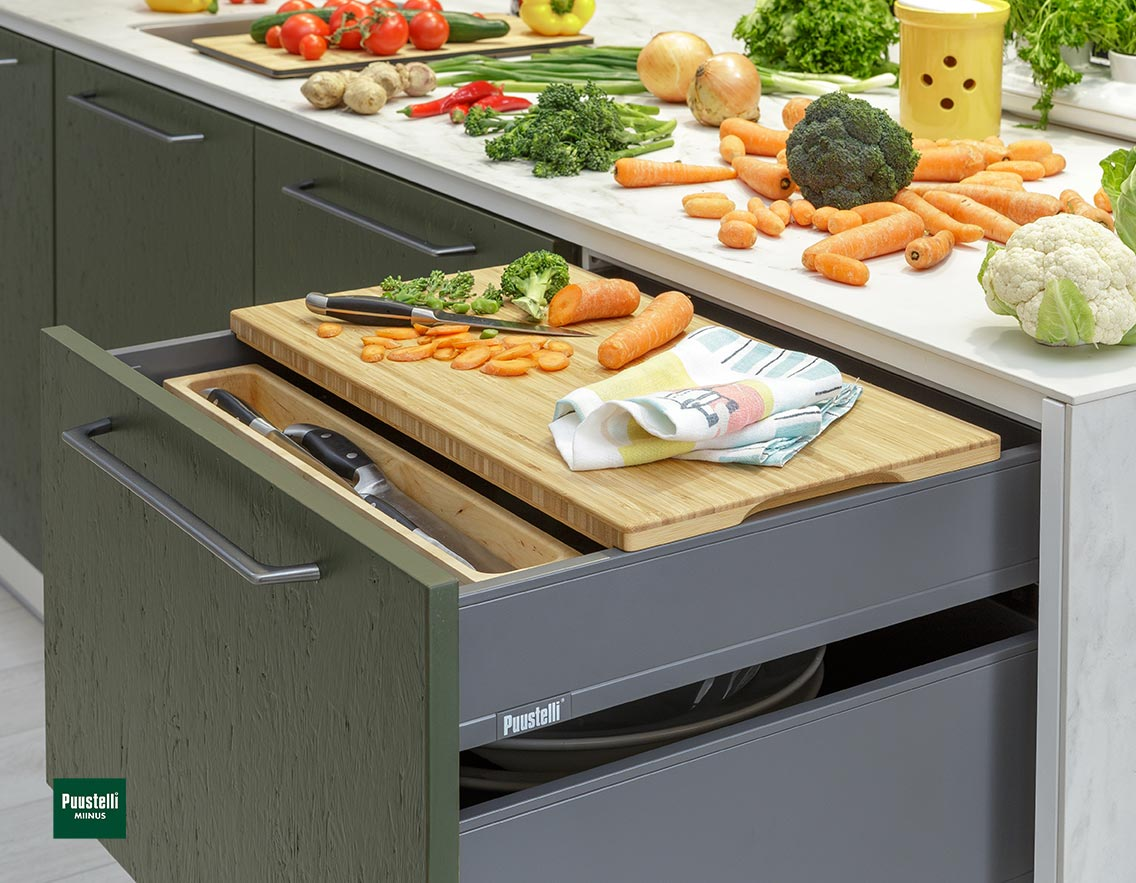 Puustelli Miinus Ecological Kitchen Island Drawer Open
