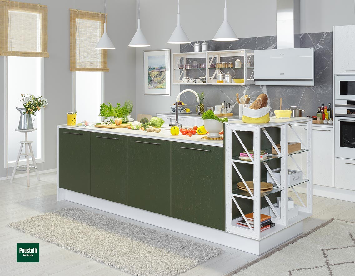 Puustelli Miinus Ecological Kitchen Island Forest Green FosbART Doors