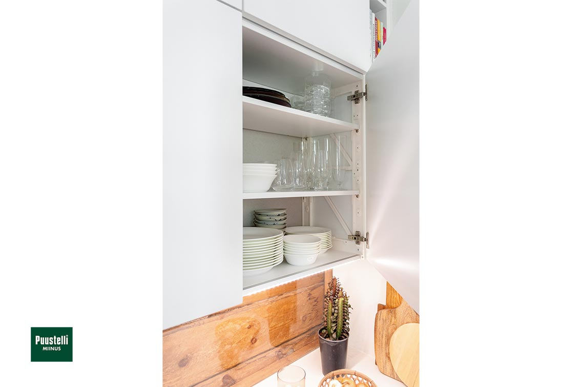 Puustelli Miinus white ecological handleless kitchen wall unit showing white bio-composite frame