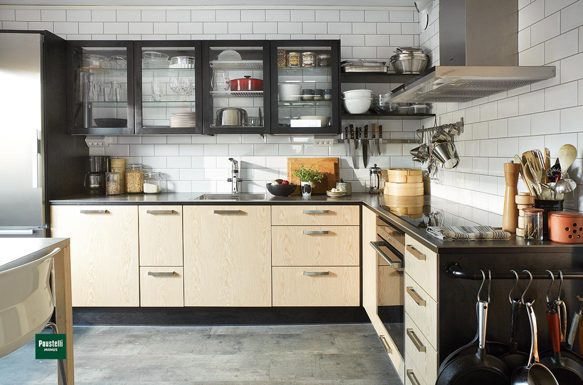 Puustelli Miinus ecological kitchen oiled birch veneer doors main