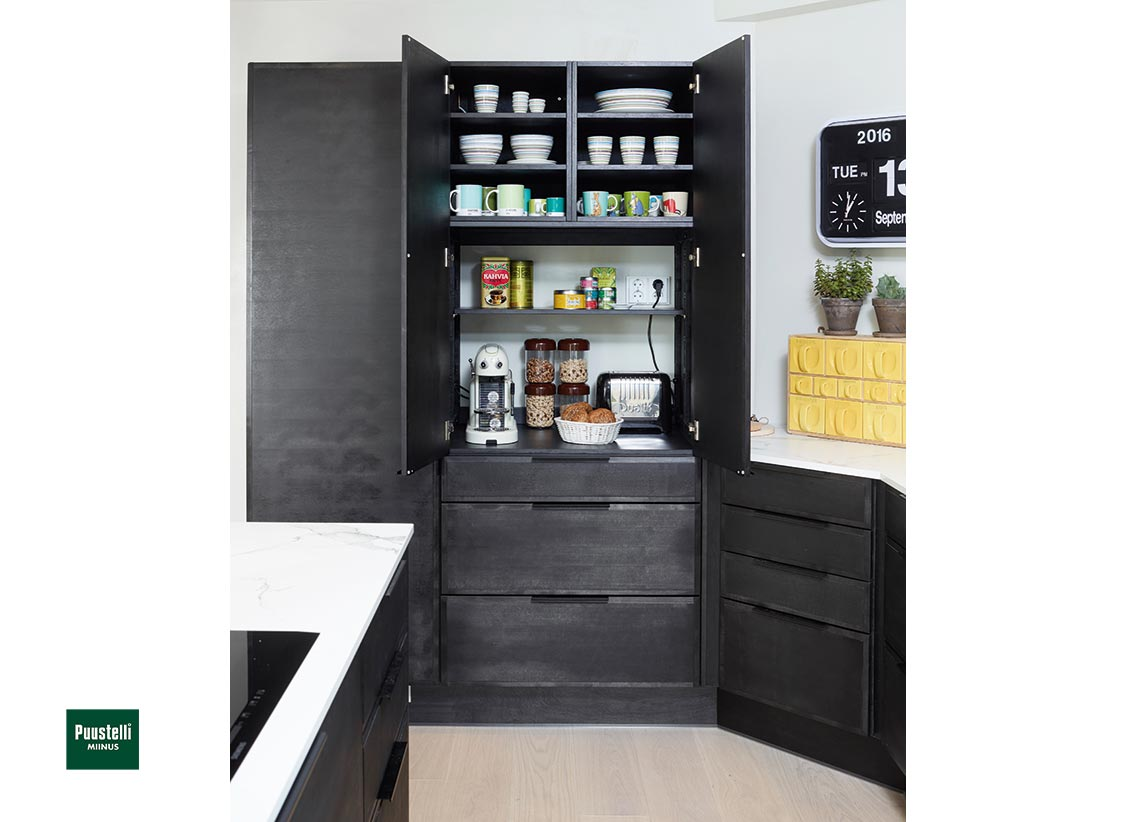 Puustelli Miinus ecological stained black kitchen larder unit