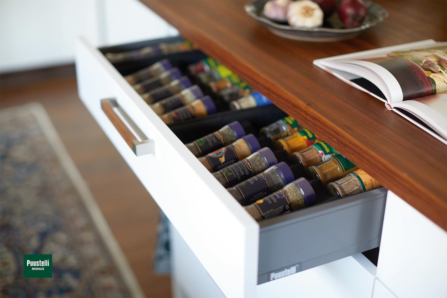 Puustelli Miinus ecological kitchen in white and lacquered dark brown birch veneer spice rack drawer