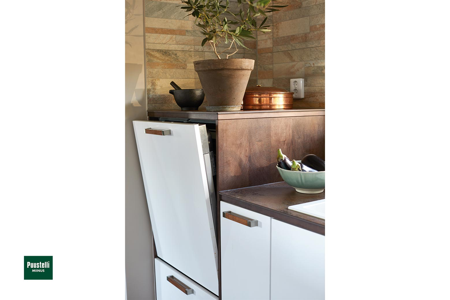 Puustelli Miinus ecological kitchen in white and lacquered dark brown birch veneer raised dishwahser