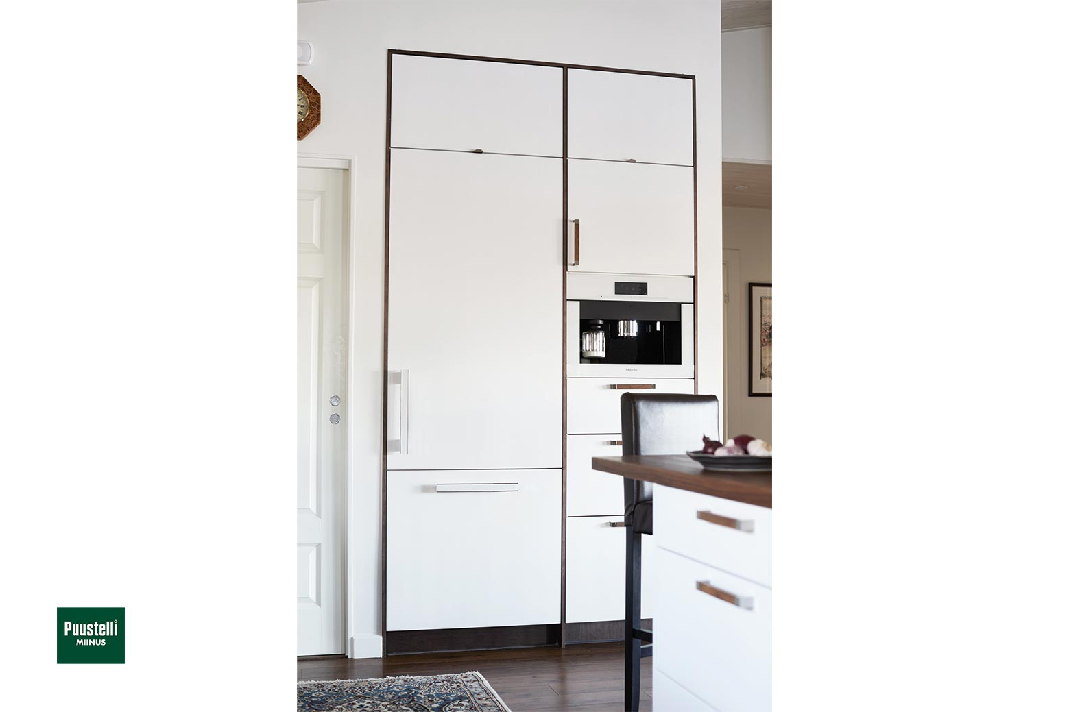 Puustelli Miinus ecological kitchen in white and lacquered dark brown birch veneer tall appliance units