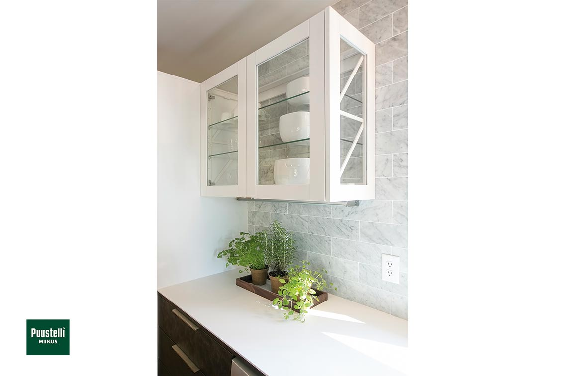 Puustelli Miinus ecological kitchen white glazed wall units