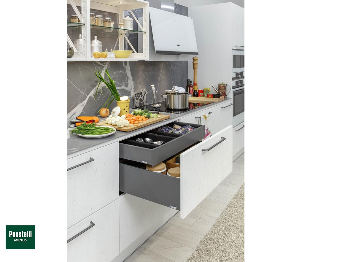 Puustelli Miinus Ecological Kitchen Drawers Open Arctic White FosbART Doors