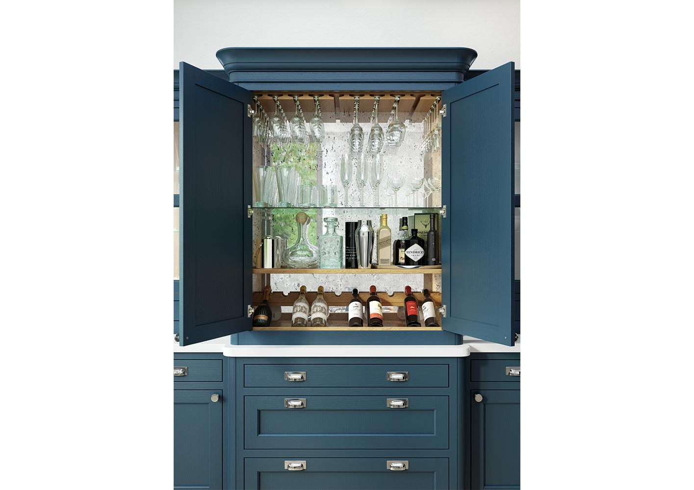 Inframe shaker style kitchen-dresser-drinks-cabinet