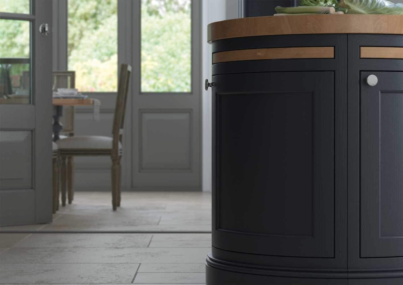 Inframe shaker style kitchen island peninsula painted slate blue