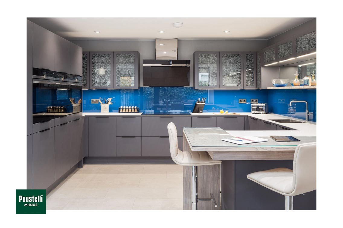 Puustelli Miinus eco-friendly kitchen with dove grey painted birch veneer doors blue splashback