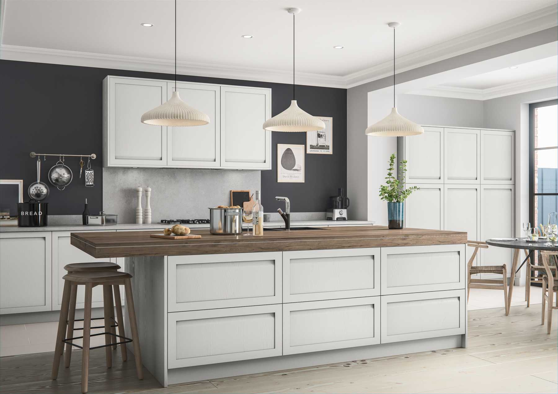 Contemporary handleless shaker style kitchen painted matte light grey