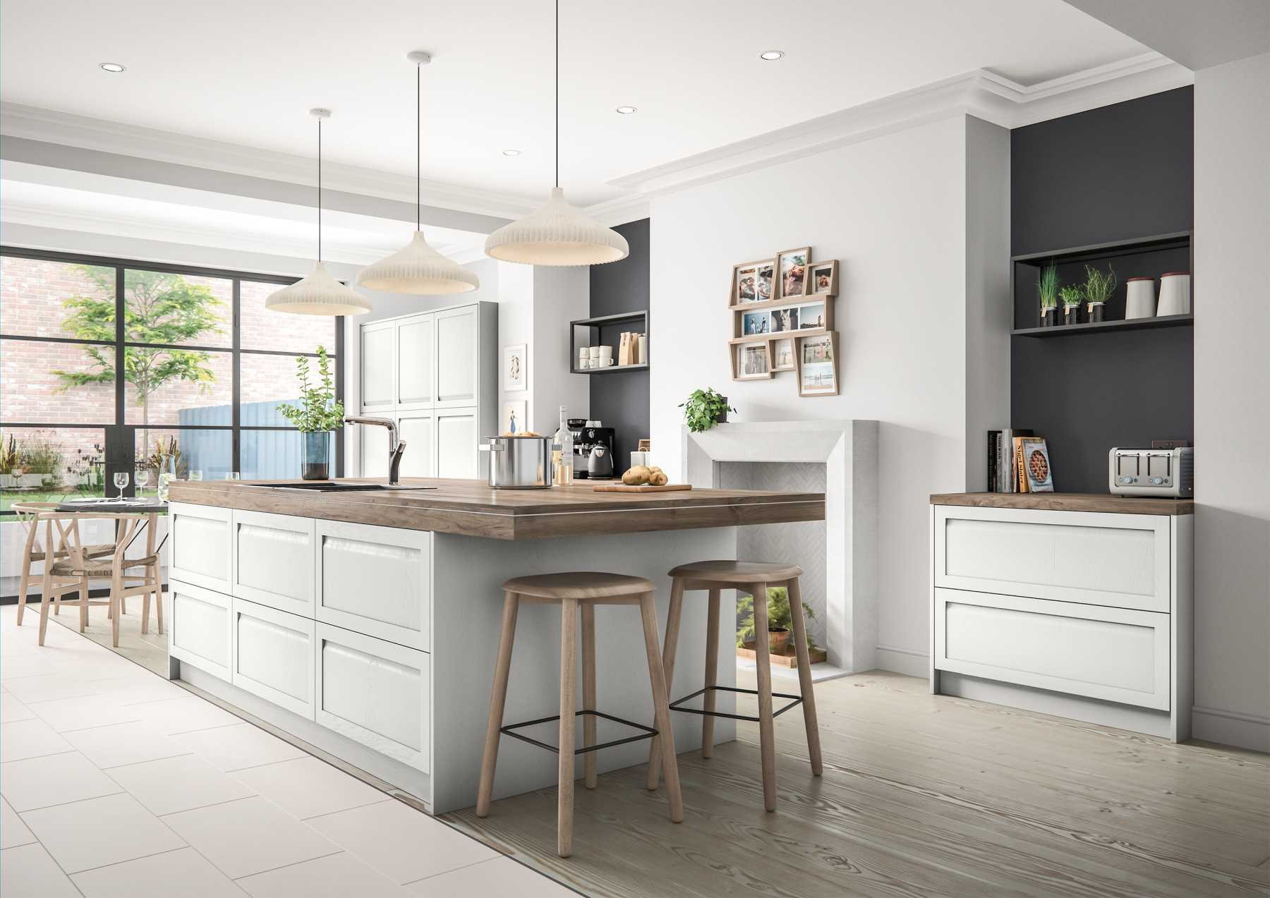 Contemporary handleless shaker style kitchen island painted matte light grey
