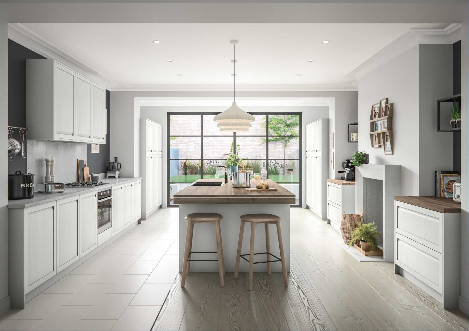 Contemporary handleless shaker style galley kitchen painted matte light grey