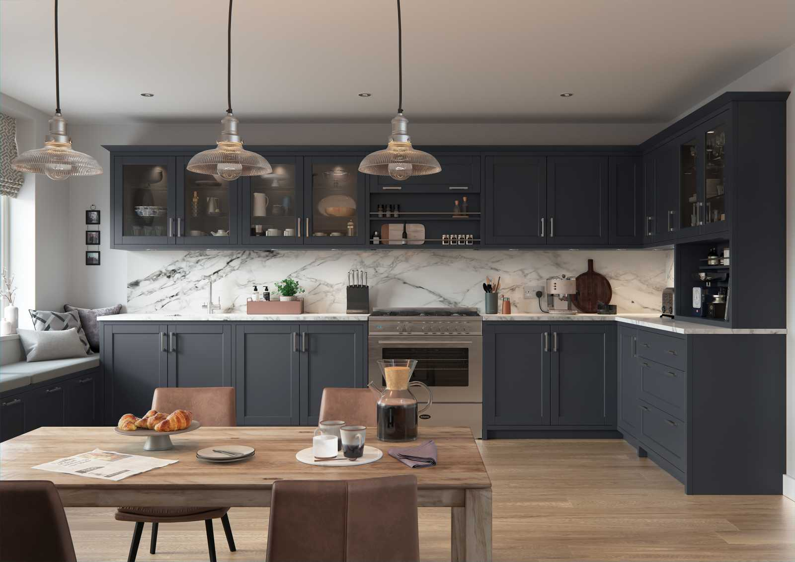 Matte indigo painted contemporary slim shaker style kitchen main pic