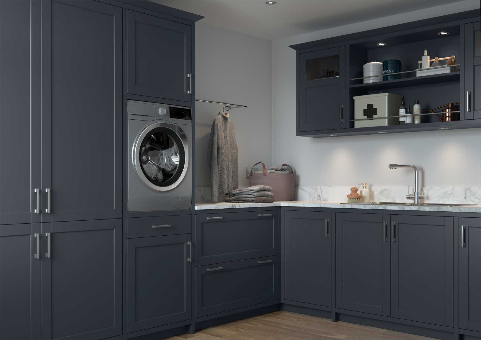 Matte indigo painted contemporary slim shaker style kitchen utility area