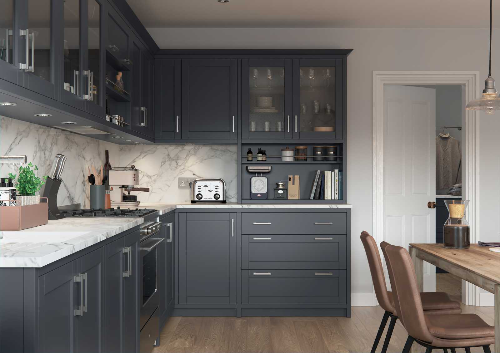 Matte indigo painted contemporary slim shaker style kitchen cooking area