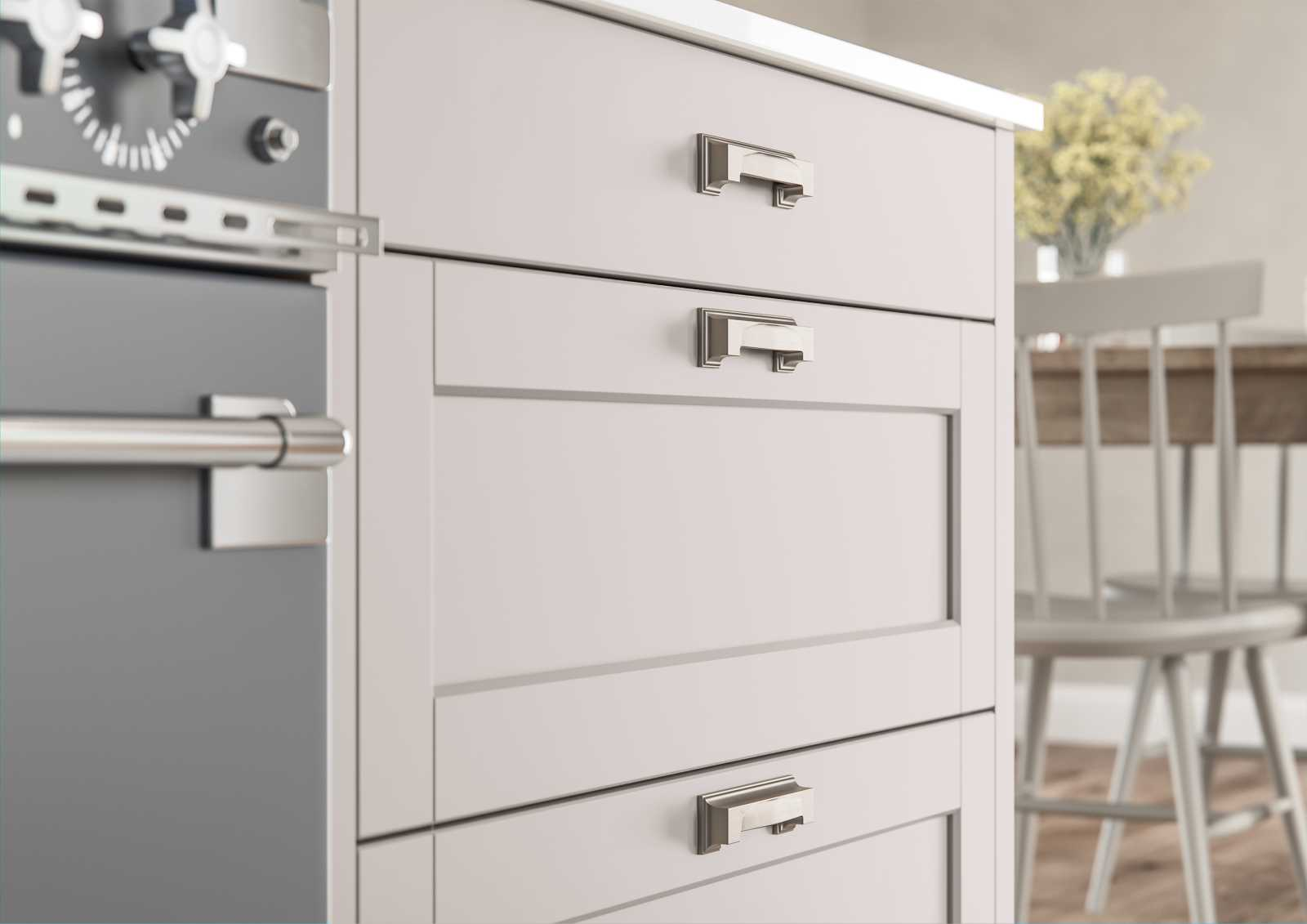 Contemporary slim frame shaker kitchen painted matte cashmere