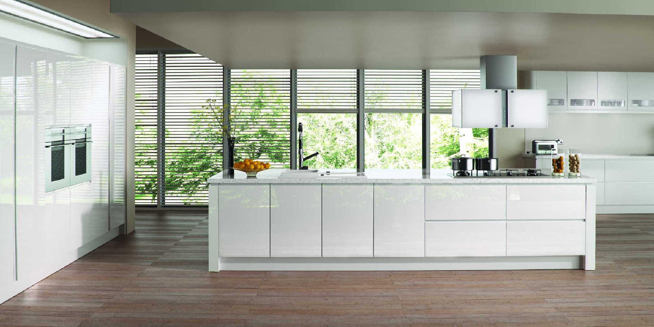 Gloss White J Profile Handleless Kitchen   OG Kitchens