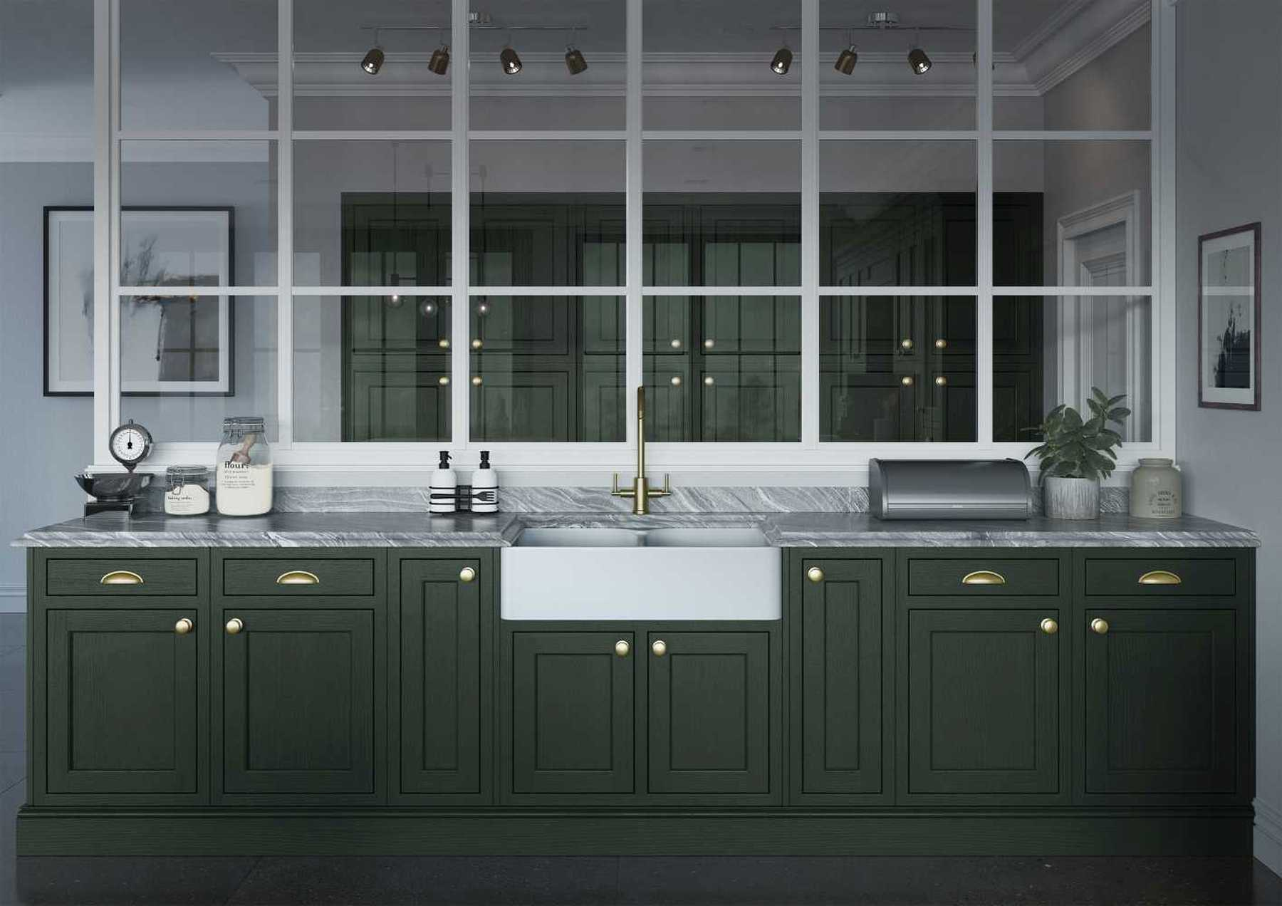 Luxurious inframe kitchen in forst green sink run