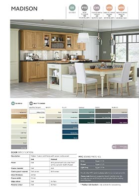 Contemporary shaker kitchen door oak ivory info sheet thumbnail