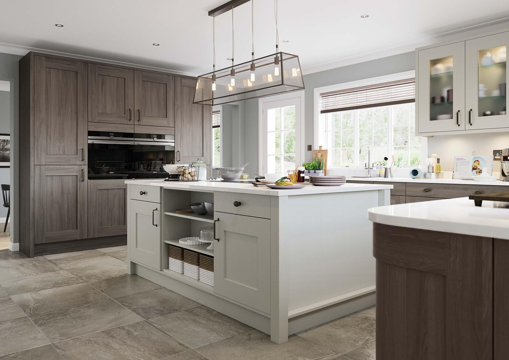 Contemporary shaker style kitchen painted light grey