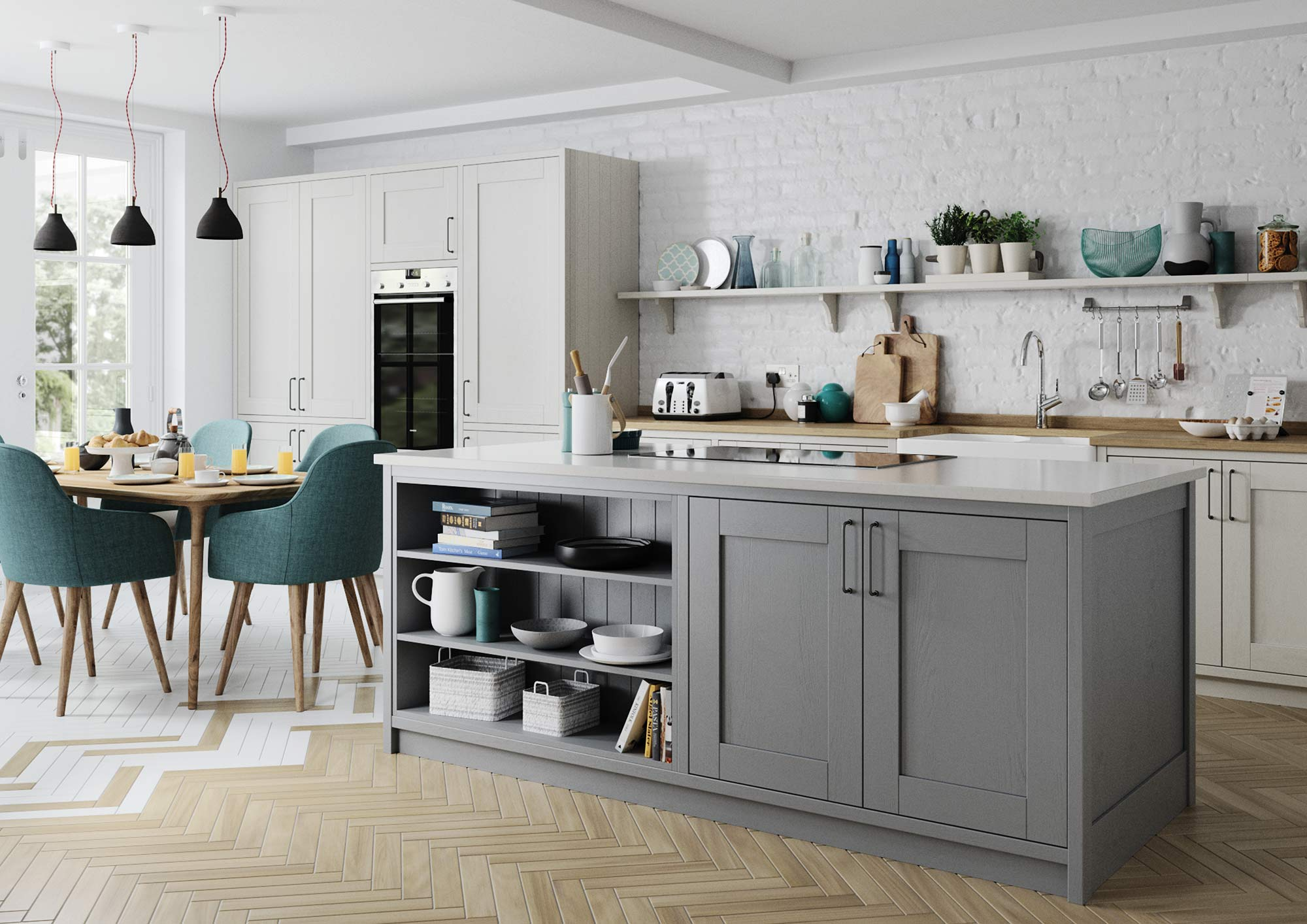 Contemporary shaker style kitchen painted light grey and dust grey