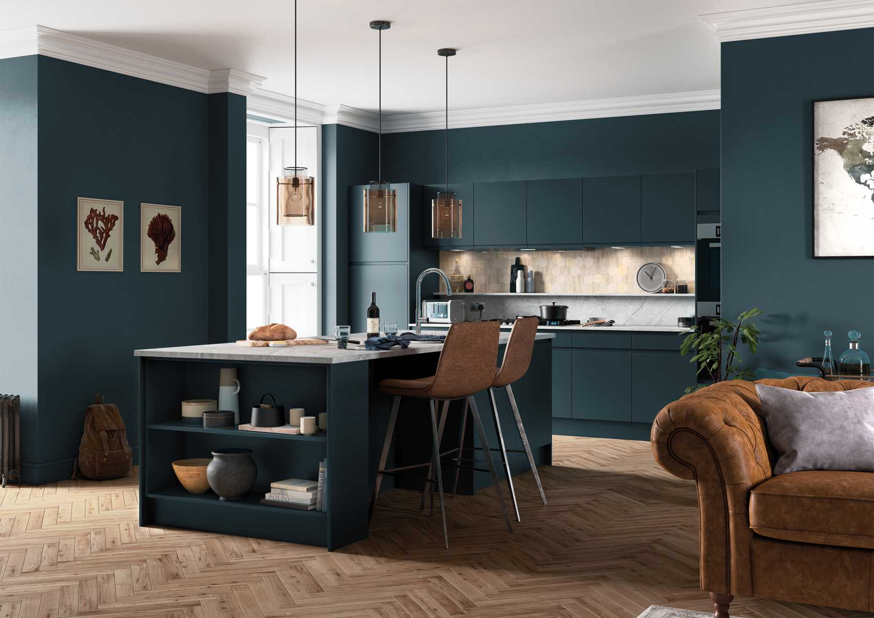Handleless J-pull kitchen in matte marine