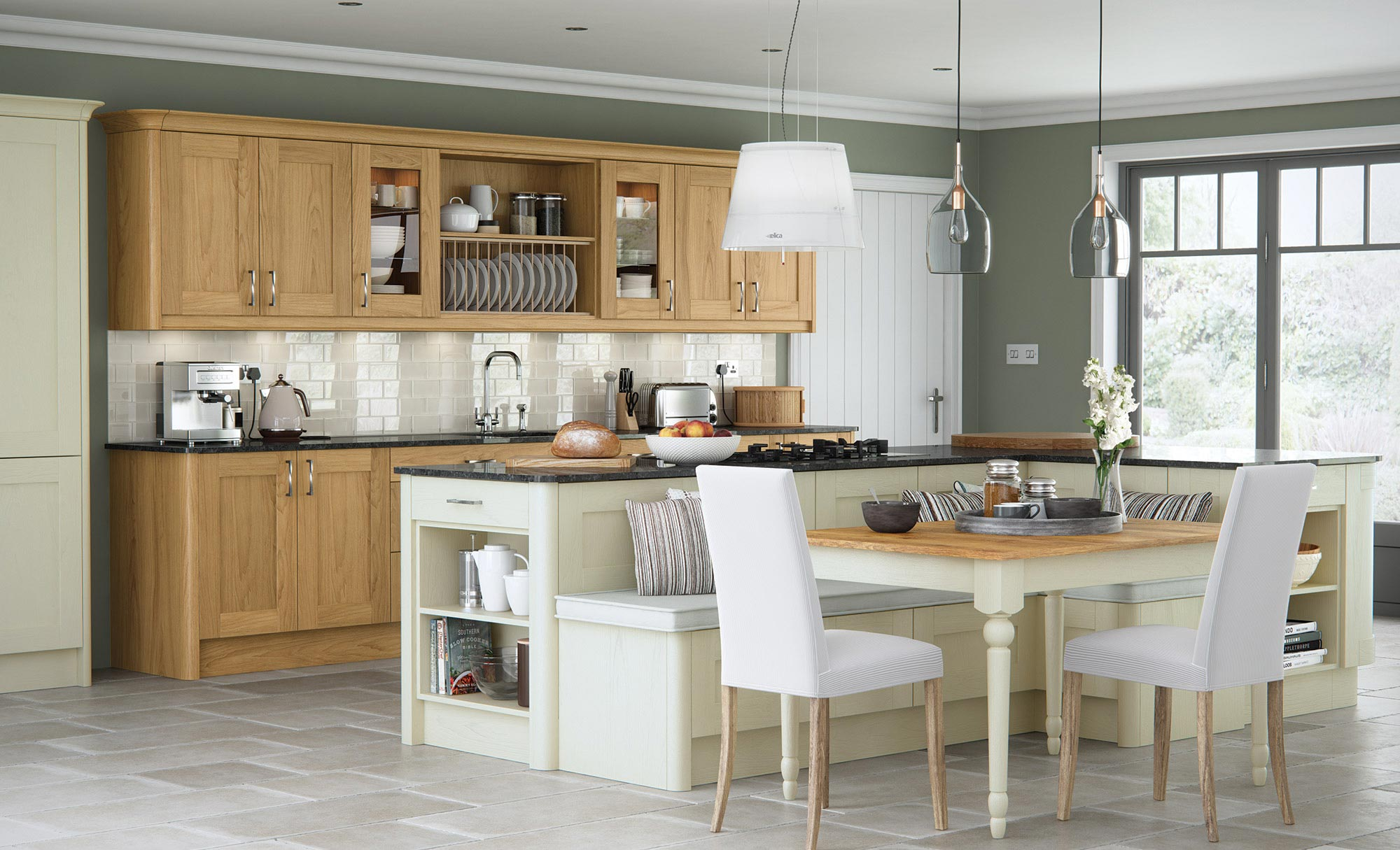 Contemporary shaker style kitchen in light oak and painted ivory