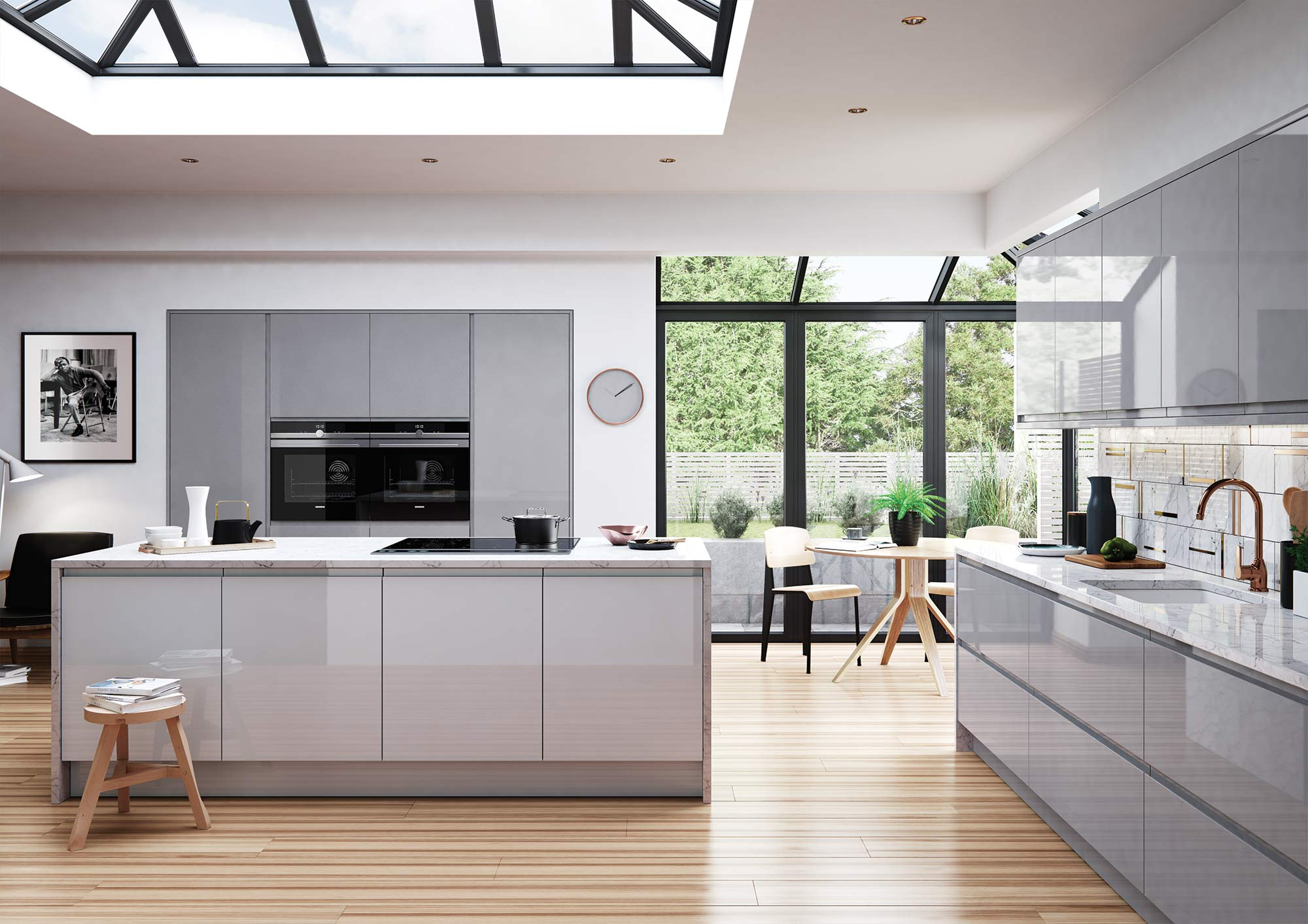 Handleless light grey and dust grey gloss kitchen
