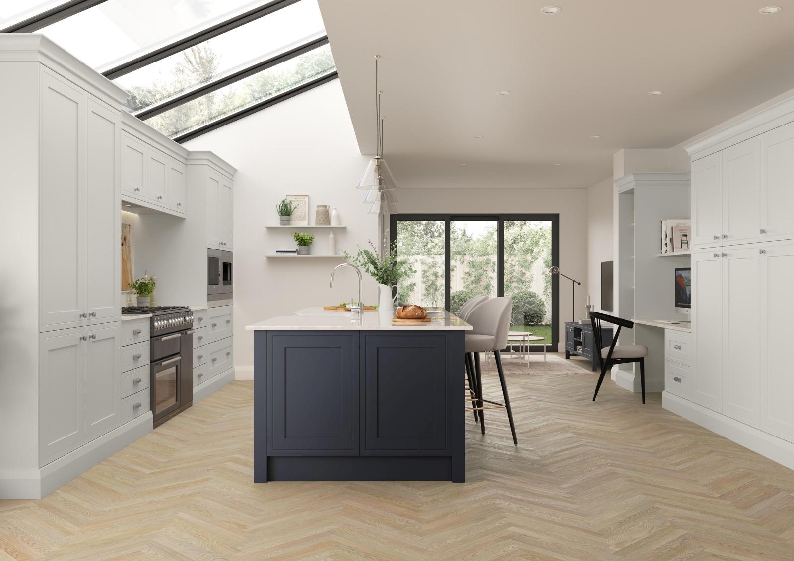 Mock Inframe shaker style kitchen painted matte slate blue and light grey