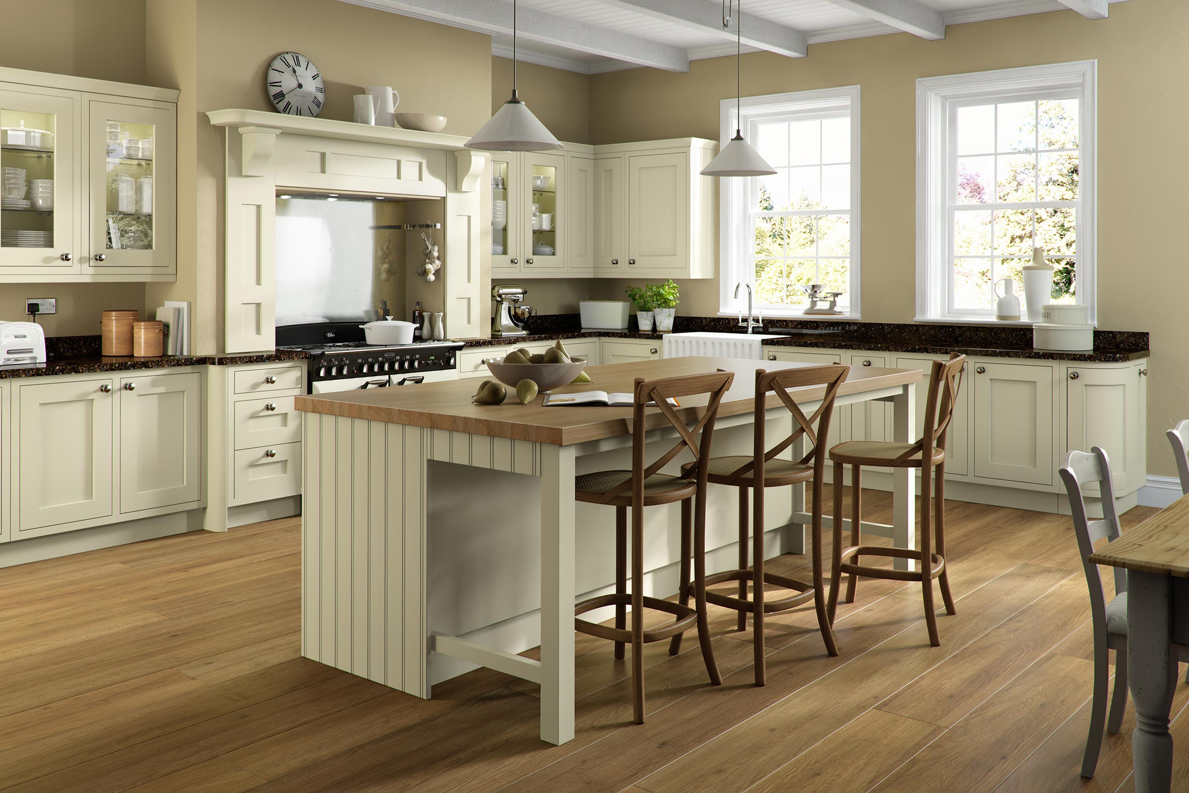Traditional in-frame kitchen cream units