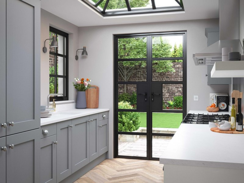 Luna grey painted contemporary shaker gally kitchen with porcelain effect worktops