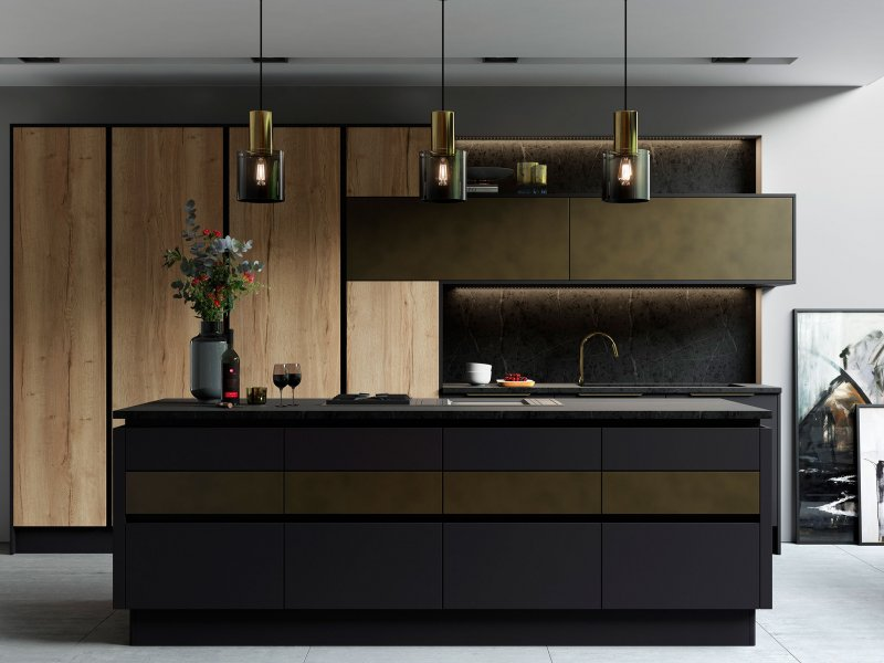 Matt graphite and brass true handleless modern kitchen