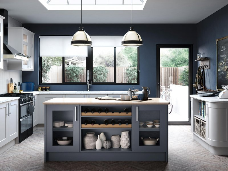 Traditional bepoke painted shaker sky blue and porcelain units light marble worktop
