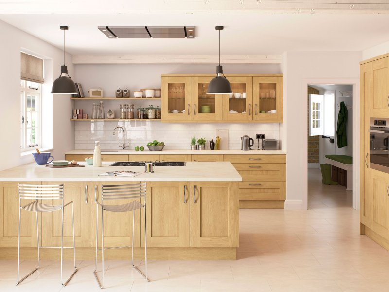 Traditional laquered oak shaker with contemporary looks with light quartz worktops